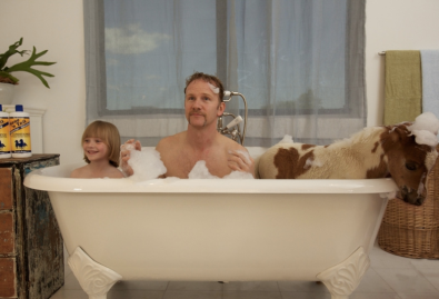 Morgan Spurlock tests out Mane 'N Tail brand shampoo in Greatest Movie Ever Sold, by taking a bath with a pony. So meta!
