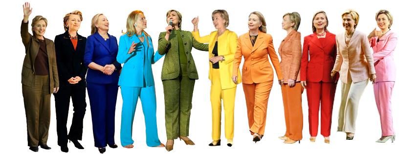 Hill's ubiquitous pantsuit.