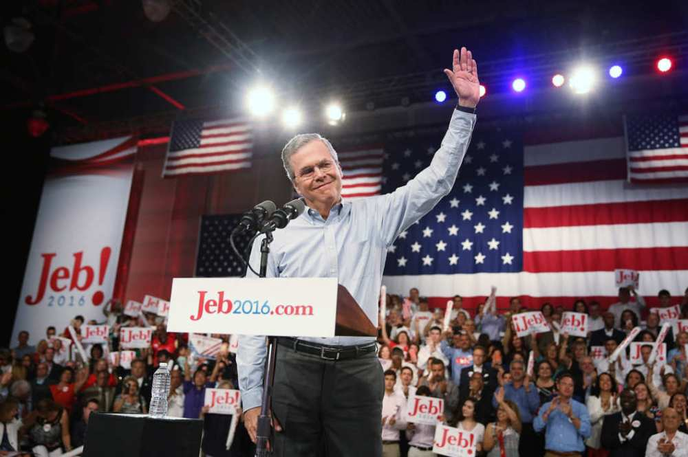 Jeb Bush rocked a casual button-down at his campaign announcement event.