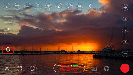 The user interface of the app FiLMiC Pro, available on the app store for $9.99.